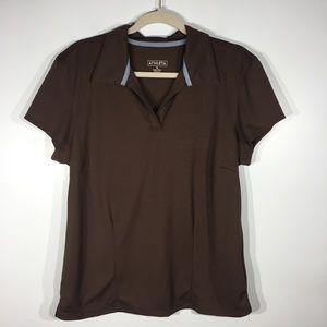 Athleta short sleeve brown polo top